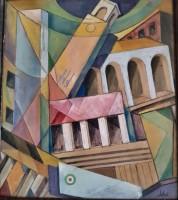 Il dipinto di  Sibò con i principali simboli di Littoria